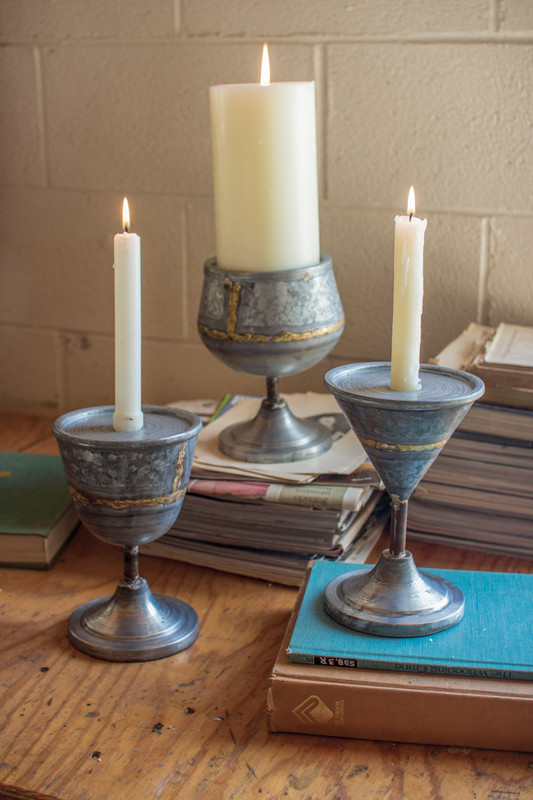 zinc cocktail candle holders