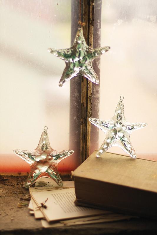 hanging recycled glass - starfish