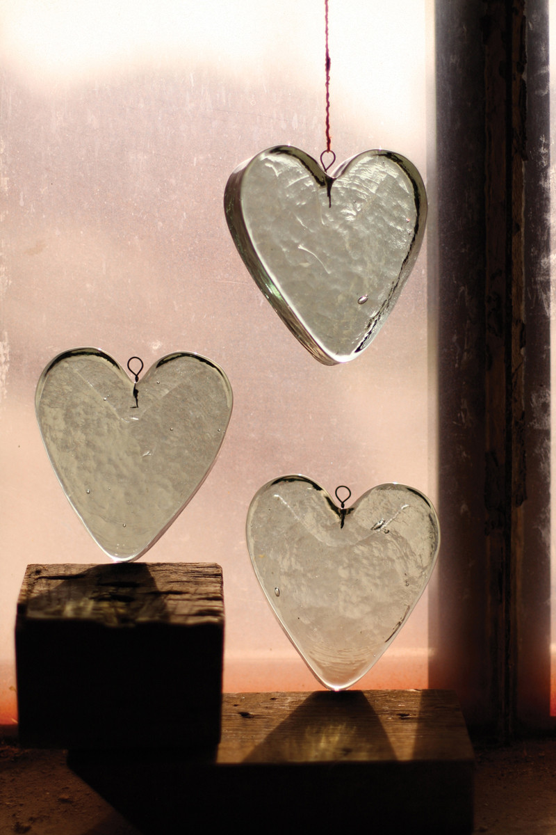 Recycled Hanging Glass Heart Suncatcher Ornament