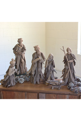 set of 6 driftwood nativity