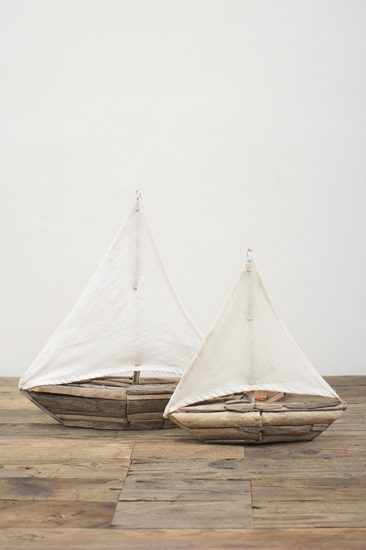 set of 2 driftwood sailboats