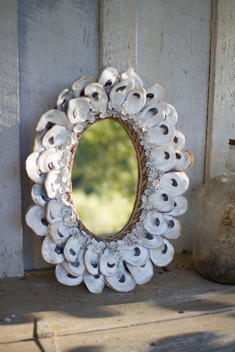oval oyster shell mirror