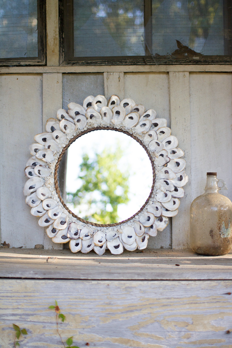 Oyster Shell Mirror Large Round