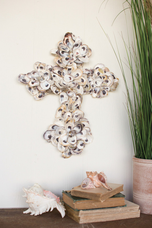 large oyster shell cross