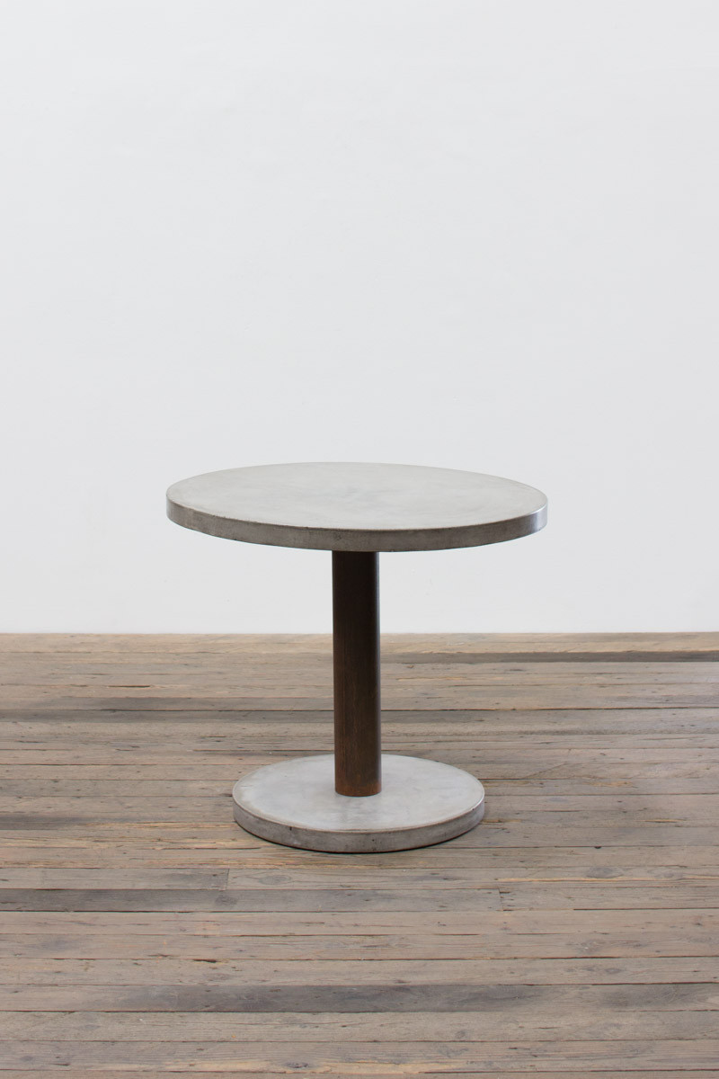 ROUND CONCRETE DINING TABLE WITH RUSTIC PEDESTAL CONCRETE BASE